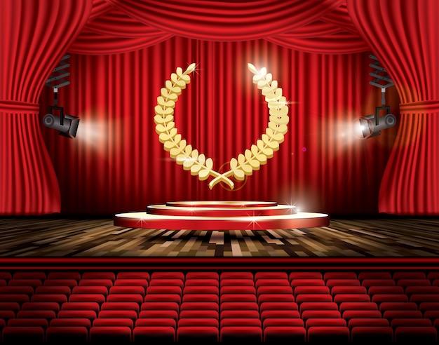 Czerwona kurtyna sceniczna z reflektorami i złotym wieńcem laurowym