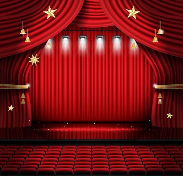 Czerwona kurtyna sceniczna z siedzeniami i reflektorami. scena teatralna, operowa lub kinowa. światło na podłodze.