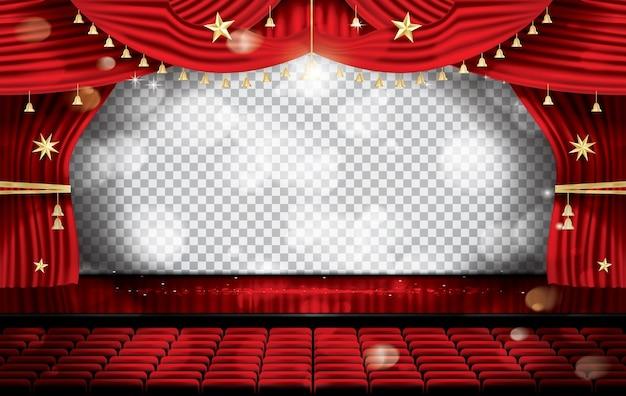 Czerwona kurtyna sceniczna z siedzeniami. scena teatralna, operowa lub kinowa.