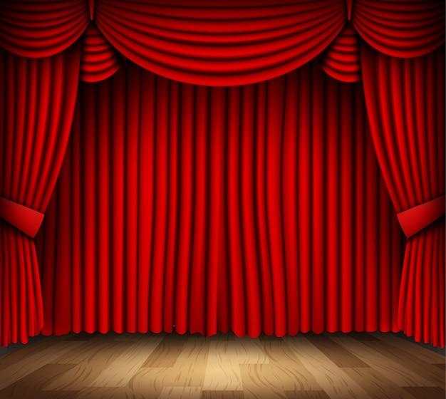 Czerwona kurtyna teatru klasycznego z drewnianą podłogą