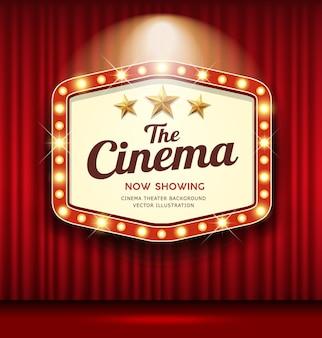 Czerwona kurtyna z napisem cinema theater hexagon zapala się.