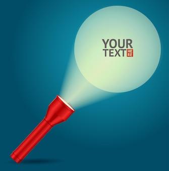 Czerwona latarka z przykładowym szablonem tekstowym