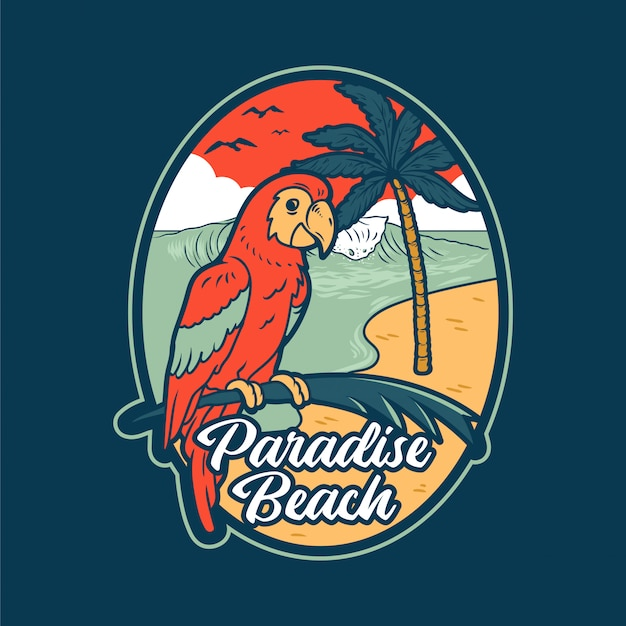 Czerwona letnia papuga w tropikalnej dżungli w pobliżu rajskiej plaży z dużą falą oceanu morskiego i palmami.