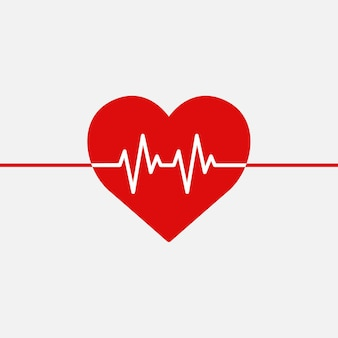 Czerwona linia medycznego bicia serca wektor kształt serca grafiki w koncepcji charytatywnej opieki zdrowotnej