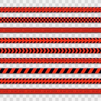 Czerwona linia policyjna taśma ostrzegawcza, niebezpieczeństwo, taśma ostrzegawcza. covid-19, kwarantanna, zatrzymaj się, nie przekraczaj, granica zamknięta. czerwona i czarna barykada. strefa kwarantanny z powodu koronawirusa. znaki ostrzegawcze wektor.