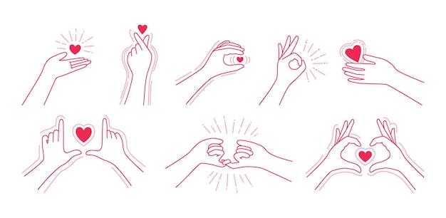 Czerwona linia zestaw, ręka trzyma serce. symbol miłości palca, gesty rąk