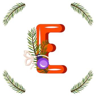 Czerwona litera e z gałęzi zielonej choinki, piłka z kokardą. świąteczna czcionka na szczęśliwego nowego roku i jasny alfabet