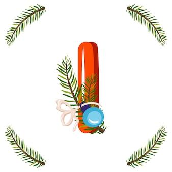 Czerwona litera i z gałęzi zielonej choinki, piłka z kokardą. świąteczna czcionka na szczęśliwego nowego roku i jasny alfabet