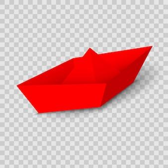 Czerwona łódka z czerwonego papieru, statek prowadzący.