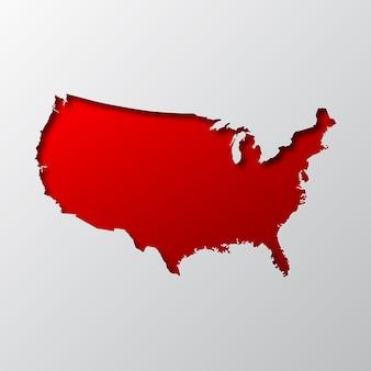 Czerwona mapa usa z papieru ciętego z cieniem