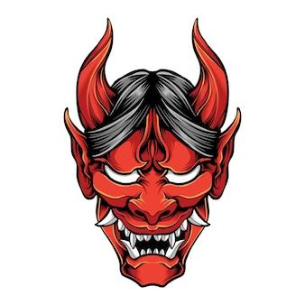 Czerwona maska oni na białym tle