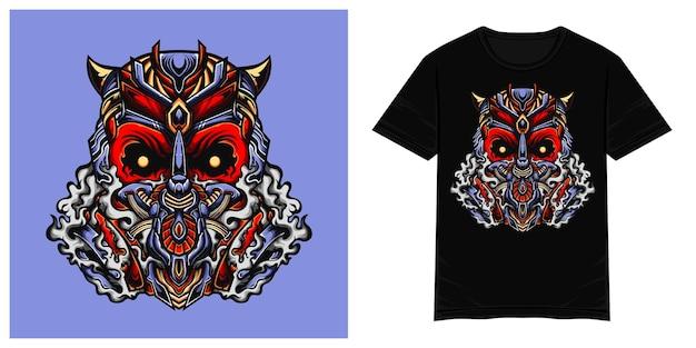 Czerwona maska toksyczna ilustracja wektorowa tshirt