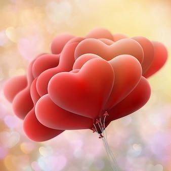Czerwona miłość latających balonów.