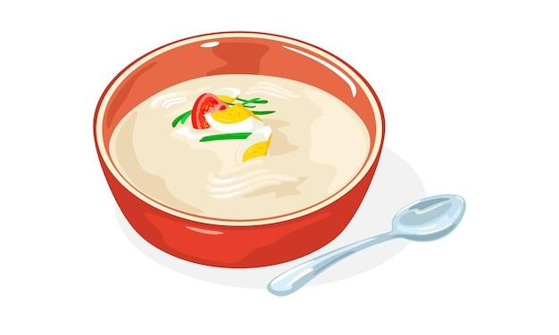 Czerwona miska kongguksu. sezonowe koreańskie danie z makaronem podawane w zimnym bulionie z mleka sojowego.