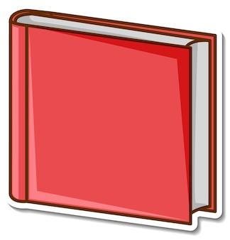Czerwona naklejka z książką na białym tle