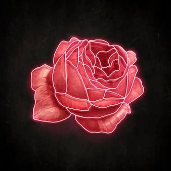 Czerwona neonowa róża na czarnym tle