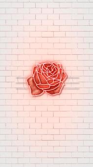 Czerwona neonowa róża w tle telefonu komórkowego!