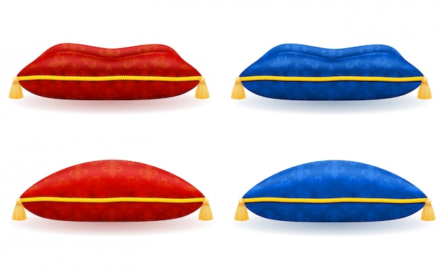 Czerwona niebieska satyna poduszka z ilustracji wektorowych złota liny i frędzle