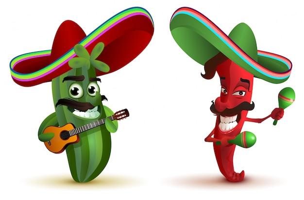 Czerwona papryczka chili i kaktus w meksykańskim kapeluszowym sombrero tańczącym marakasie