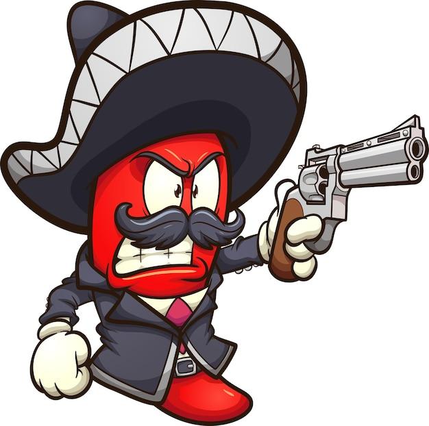 Czerwona papryczka chili ze strojem mariachi i rewolwerem