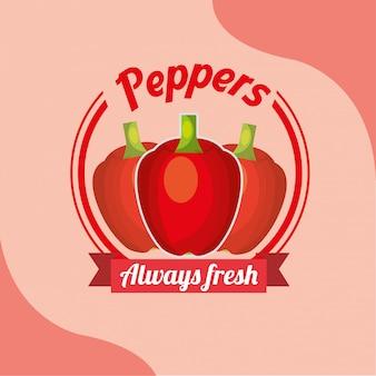 Czerwona papryka warzywna zawsze świeży emblemat