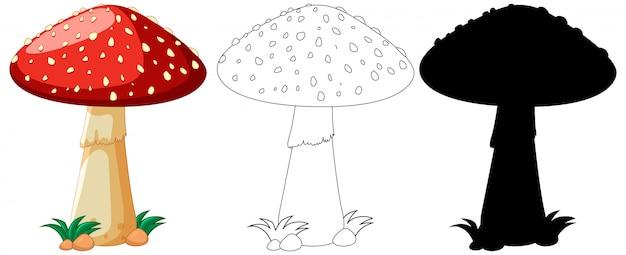 Czerwona pieczarka w kolorze, kontur i sylwetka w postać z kreskówki na białym tle