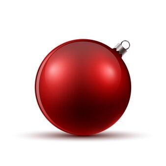 Czerwona piłka boże narodzenie. ilustracja