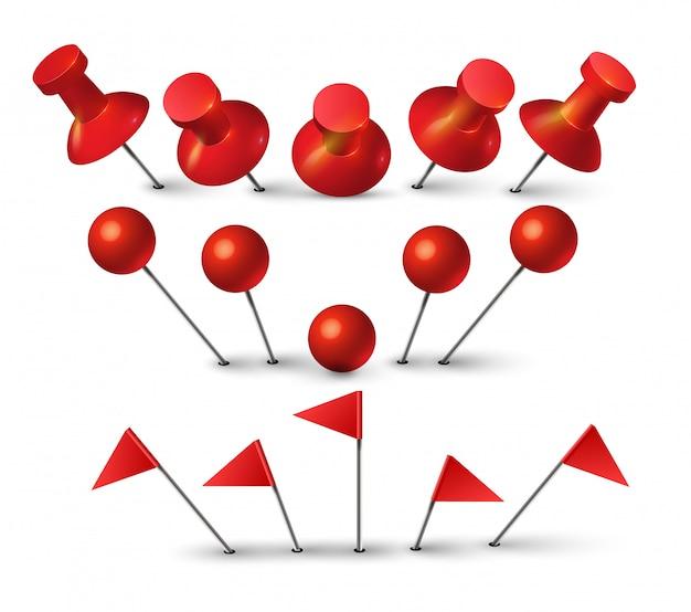 Czerwona pinezka. czerwona szpilka do tablicy korkowej wpychająca papierową notatkę. kształt kropki i symbol pin flaga na białym tle.