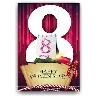 Czerwona pocztówka z życzeniami na dzień kobiet