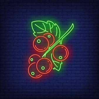 Czerwona porzeczka jagody neon znak.