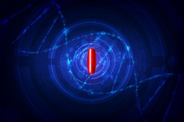 Czerwona przezroczysta pigułka z futurystycznym interfejsem naukowym