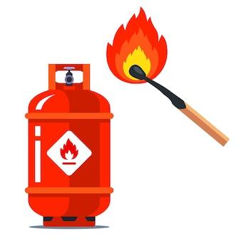 Czerwona puszka gazowa obok płonącej zapałki. sytuacja łatwopalna. ilustracja na białym tle.