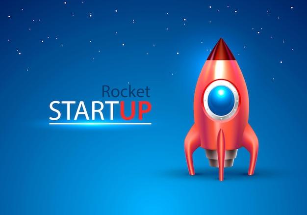 Czerwona rakieta uruchomić kosmiczną zabawkę na niebieskim tle. ilustracja wektorowa