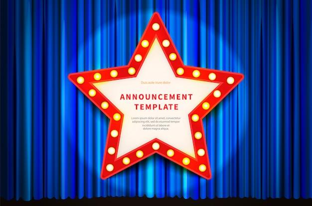 Czerwona ramka w kształcie gwiazdy z oświetleniem żarówki, szablon w stylu vintage na niebieskiej kurtynie
