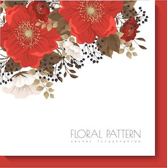 Czerwona ramka w kwiaty czerwone i białe kwiaty