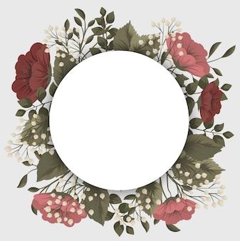 Czerwona ramka w kwiaty - czerwone i białe kwiaty