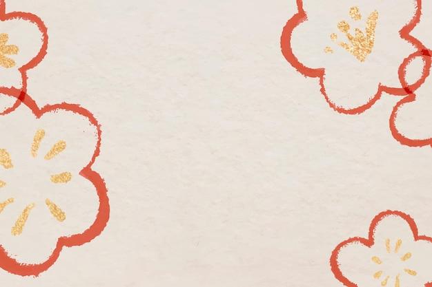 Czerwona ramka z kwiatem śliwy na chińskie święto narodowe