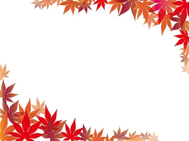 Czerwona ramka z liści klonu i tło