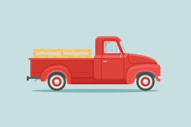 Czerwona retro furgonetka płaski
