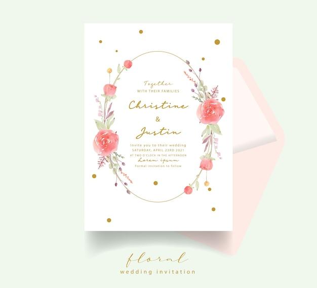 Czerwona róża akwarela zaproszenie na ślub