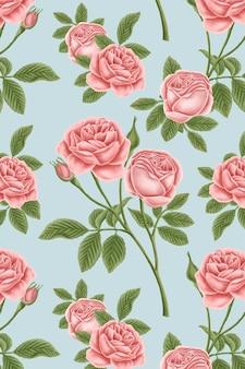 Czerwona róża bezszwowe wzorzyste tło wektor