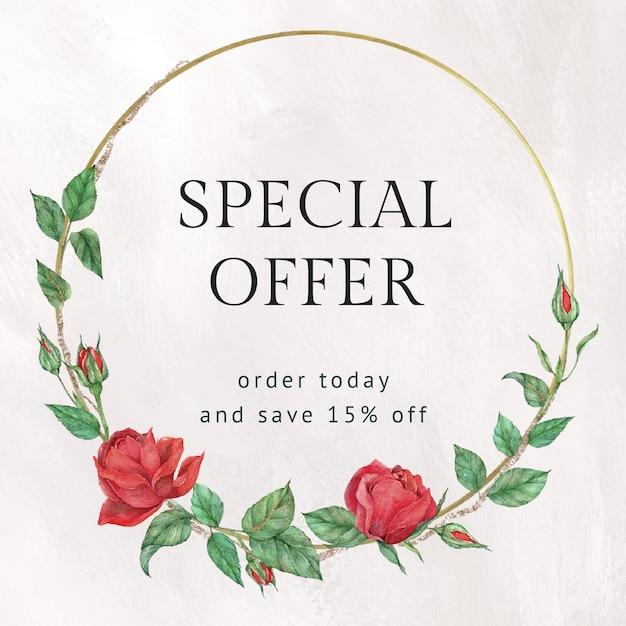 Czerwona róża edytowalny szablon z tekstem oferty specjalnej