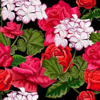 Czerwona róża i wzór hortensji