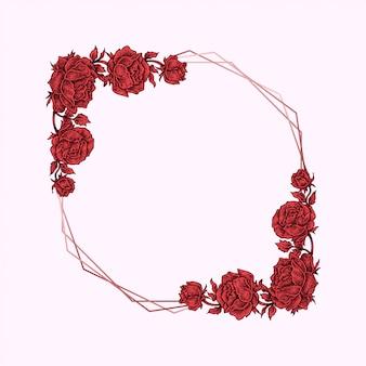 Czerwona róża kwiatowy rama