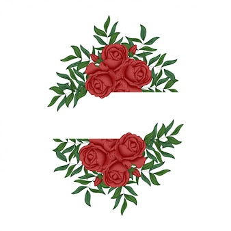 Czerwona róża kwiatowy ramki