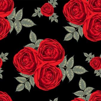 Czerwona róża kwiaty szwu