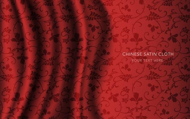 Czerwona satyna jedwabna z wzorem, kwiat winorośli w krzywy krzyżyk