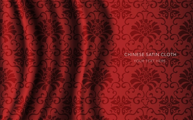 Czerwona satyna jedwabna z wzorem, kwiat winorośli