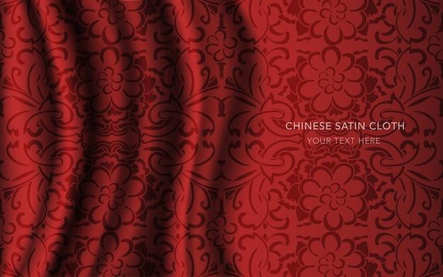 Czerwona satyna jedwabna z wzorem, okrągły kwiatek w krzyżu krzyżykowym
