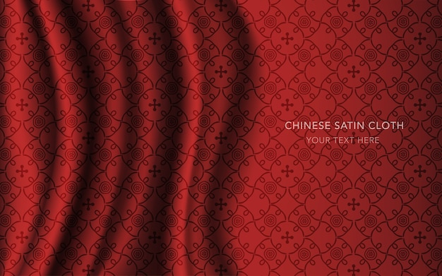 Czerwona satynowa tkanina jedwabna z wzorem, ramka z winorośli w krzywy krzyżyk